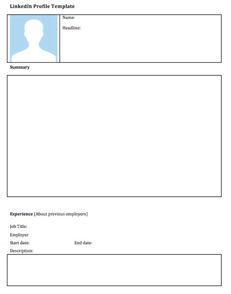 profile template blank linkedin profile template esl