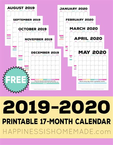 printable monthly calendar happiness homemade