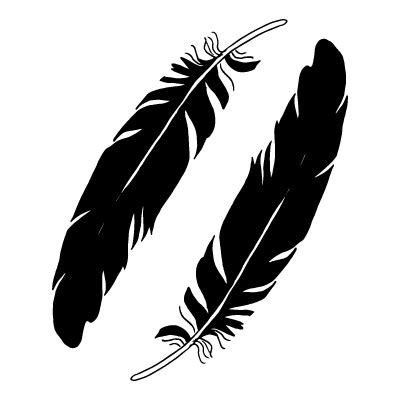 Black Feathers Black & White Temporary Tattoo