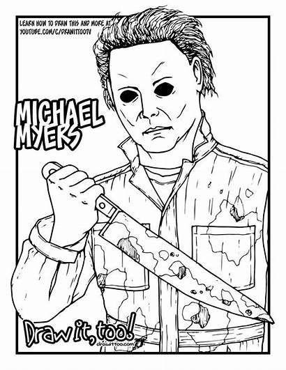 Myers Michael Halloween Jason Coloring Pages Voorhees