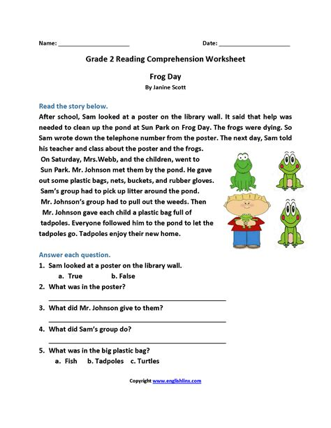 frog day second grade reading worksheets reading