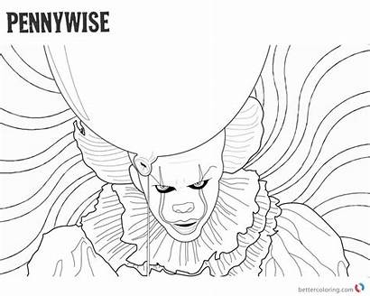 Pennywise Coloring Clown Pages Printable Drawing Psychedelic