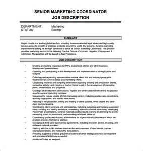 marketing coordinator description exles marketing coordinator description template 13 free word pdf format free
