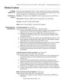 resume format windows system administrator server administrator resume sle