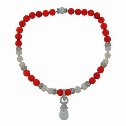 Webb David 1stdibs Coral Necklace Platinum Detachable