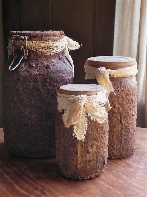 country kitchen crafts primitive grungy pantry jars set of 3 for your 2771