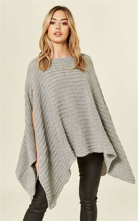silver grey chunky knitted poncho cape missi silkfred