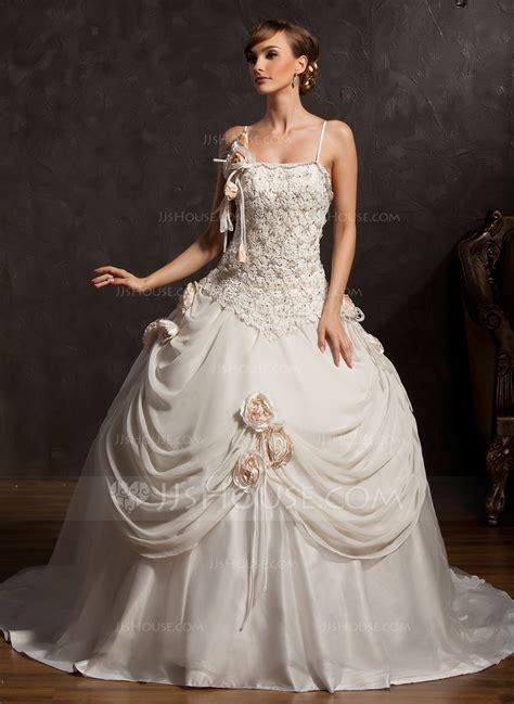 ball gown chapel train chiffon satin tulle wedding dress