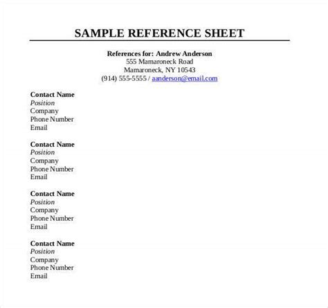reference sheet template   word  documents