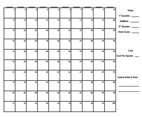 football squares template pdf 8 football pool sles sle templates