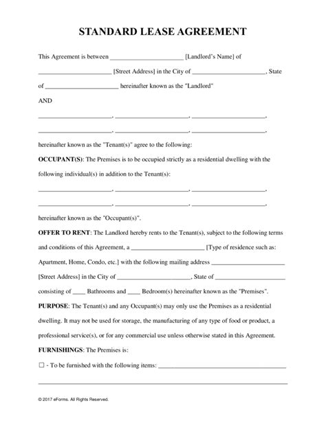 lease agreement sample free rental lease agreement templates residential