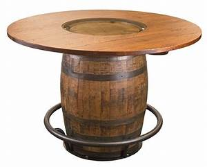 Whiskey Barrel Pub Table w/glass inlay - Whispering Pines