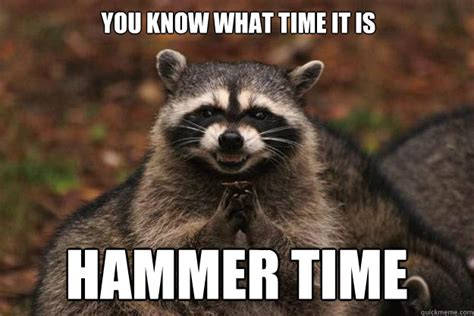 Hammer Time Meme - you know what time it is hammer time evil plotting raccoon quickmeme