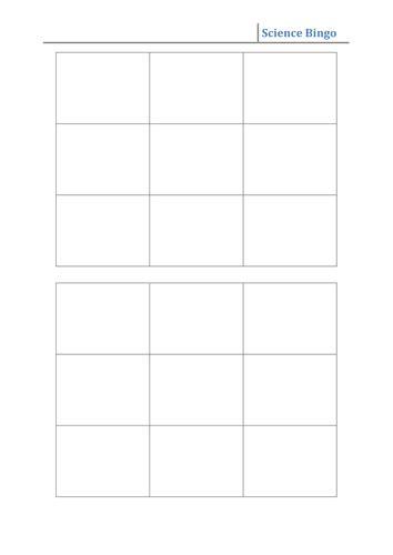 bingo  grid template teaching resources