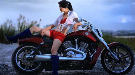 Картинка азиатка, мотоцикл, байк, девушка, Harley Davidson