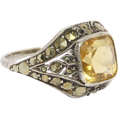 deco marcasite silver citrine ring from thejewelcollection on ruby