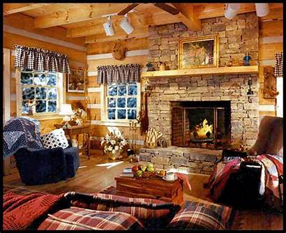 Fireplace Living Cozy Decoration Cabin Christmas Rooms