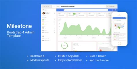 bootstrap 4 templates free themeforest milestone bootstrap 4 dashboard template