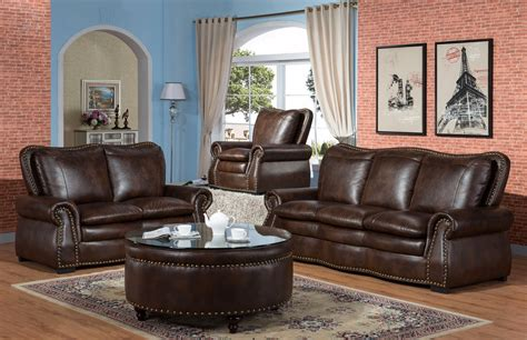 leather and fabric loveseat lincoln traditional brown sofa loveseat set in leather