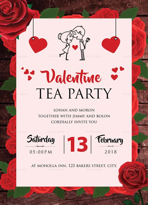 Valentine Tea Party Invitation Design Template in Word