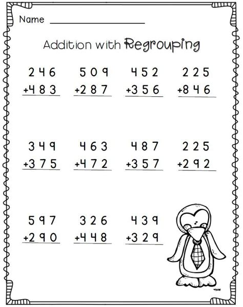2nd grade math worksheet 3 digit addition with regrouping 3 digit addition with regrouping 2nd grade math