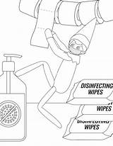 Coloring Elf Shelf Pages Printable Mask Mom Wipes Disinfecting Hand sketch template