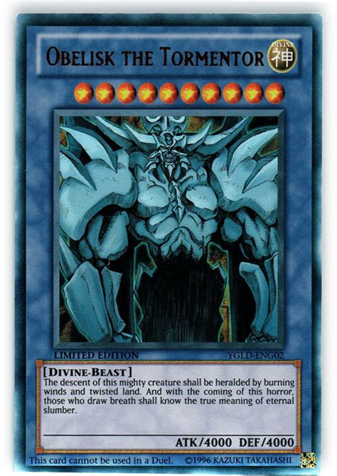 Obelisk The Tormentor Deck Build by Obelisk The Tormentor Ygld Eng02 Ultra Yu Gi Oh