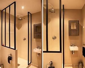 paroi de douche facon verriere With porte de douche style verriere