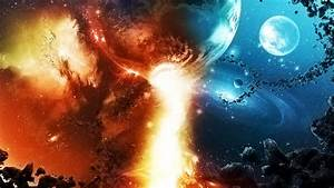 Wallpaper space, fire, planet, stars, asteroid, galaxy ...