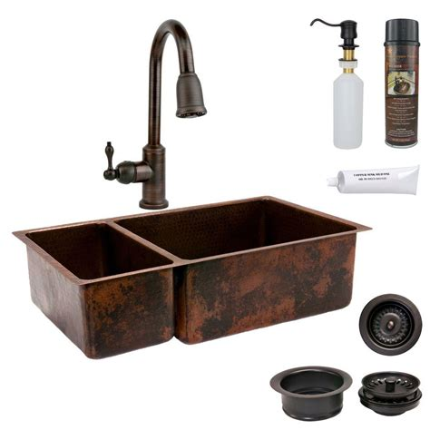 copper kitchen sink faucets premier copper products all in one undermount hammered