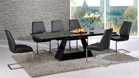 folding table seats 8 extendable black glass high gloss base dining table and 8