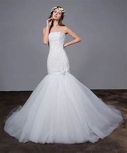 white strapless mermaid wedding dresses lace sexy tulle With fishtail wedding dresses