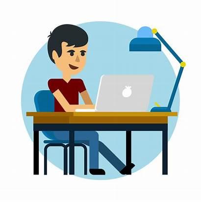 Laptop Working Hombre Trabajando Boletim Escolar Ordenador