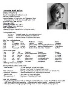 childs performing arts resume acting cv two thirds theatre