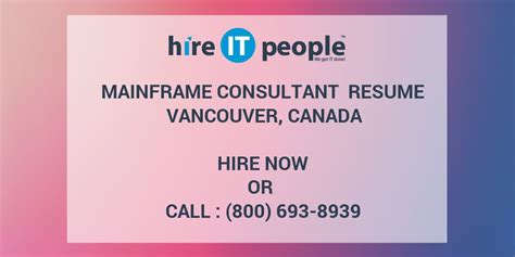 mainframe consultant resume vancouver canada hire it
