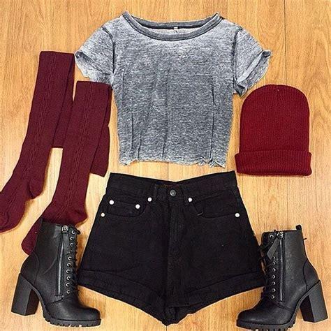 grey faded cropped tshirt black high waisted shorts