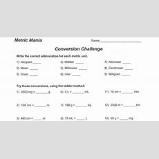 Science Class Metric System Conversion Worksheet