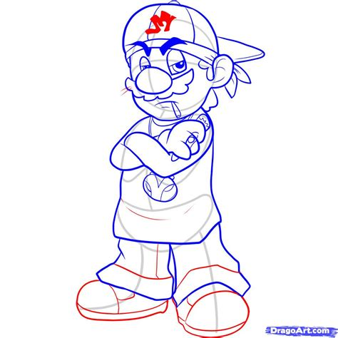 draw gangster mario step  step video game