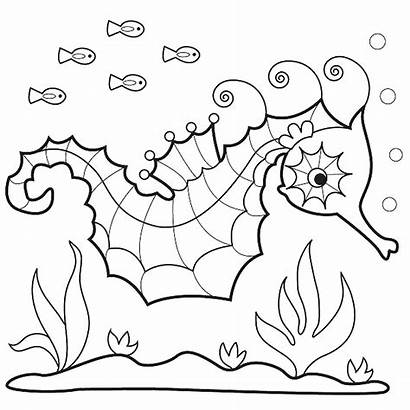 Seahorse Coloring Sea Pages Horse Drawing Printable
