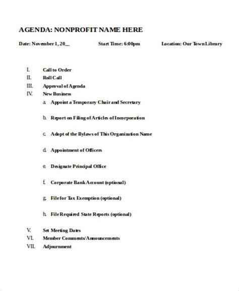 nonprofit agenda templates   sample
