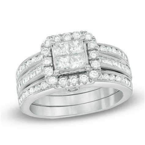 1 1 2 ct t w quad princess cut diamond frame bridal set