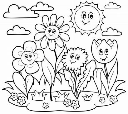 Coloring Pages April Flowers Growing Printable Spring
