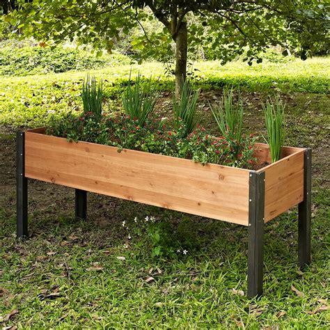 elevated planter box starplast outdoor garden plastic storage chest cushion