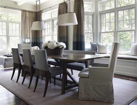 Blue And Gray Dining Room With Built-in Window Seat And