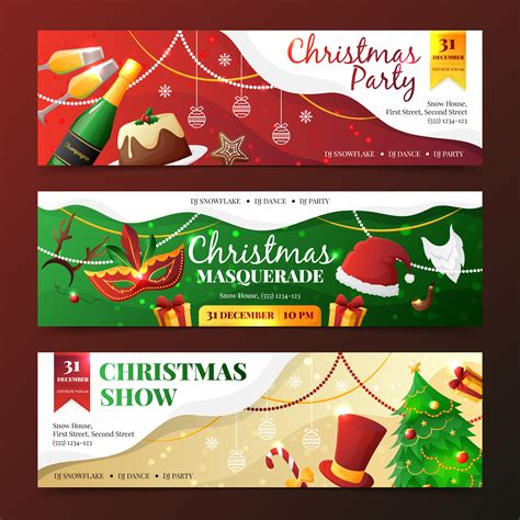 christmas party invitation banners   vectors