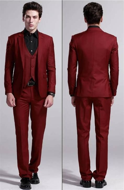 High Quality New 2014 Wine Red Business Casual Men Dress Wedding Suits For Men Wedding Groom ...