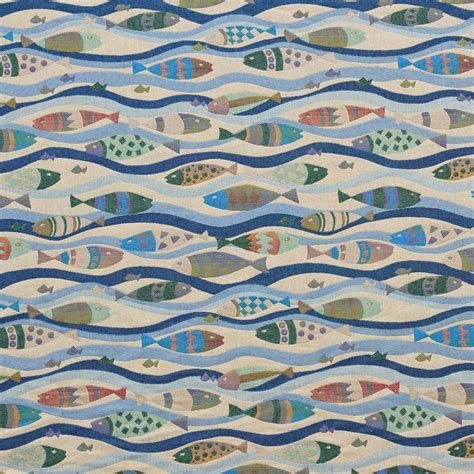 Fish Upholstery Fabric by J9000m Multi Colored Fish Swimming Jacquard Upholstery Fabric