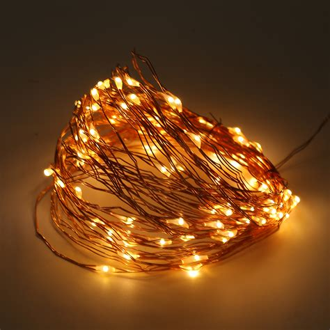 Solar Powered Warm White 10m 100led Copper Wire Outdoor