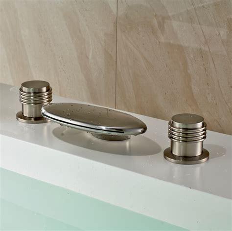 luxury dual handles waterfall spout basin vessel