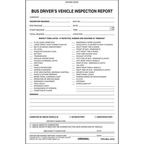 driver s vehicle inspection report 3 ply carbonless stock